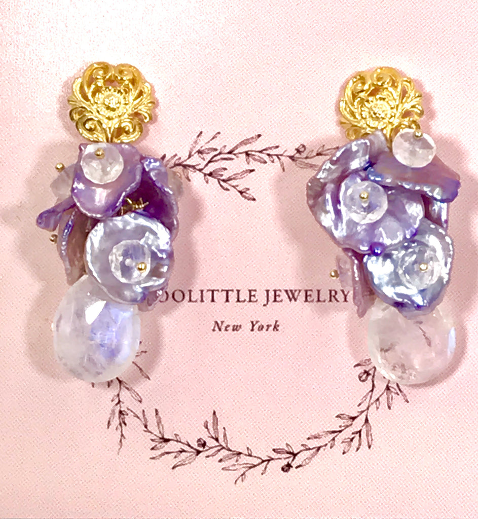 Moonstone Lavender Keishi Pearl Gold Post Earrings - doolittlejewelry