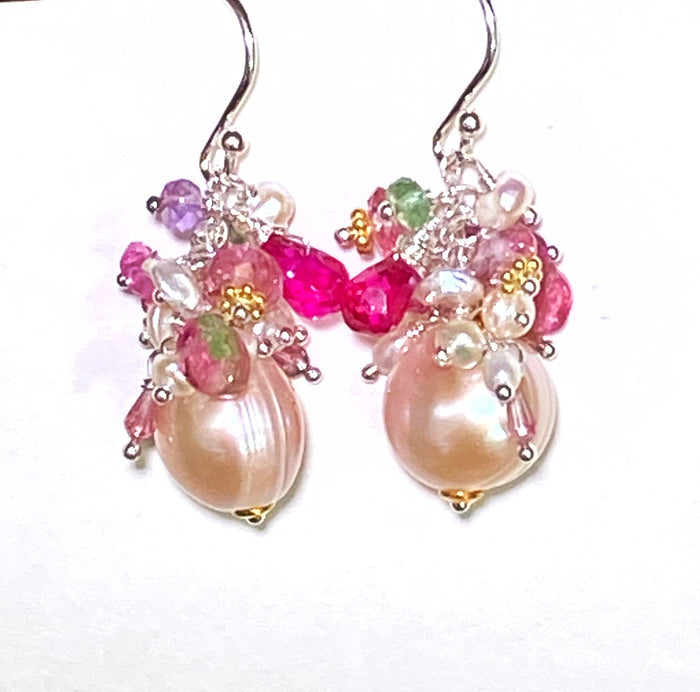 Pink Pearl Gemstone Tourmaline Cluster Earrings Sterling Silver Mixed Metal