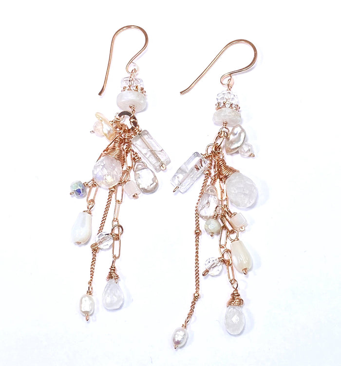 Rose Gold Rainbow Moonstone Boho Bridal Dangle Earrings