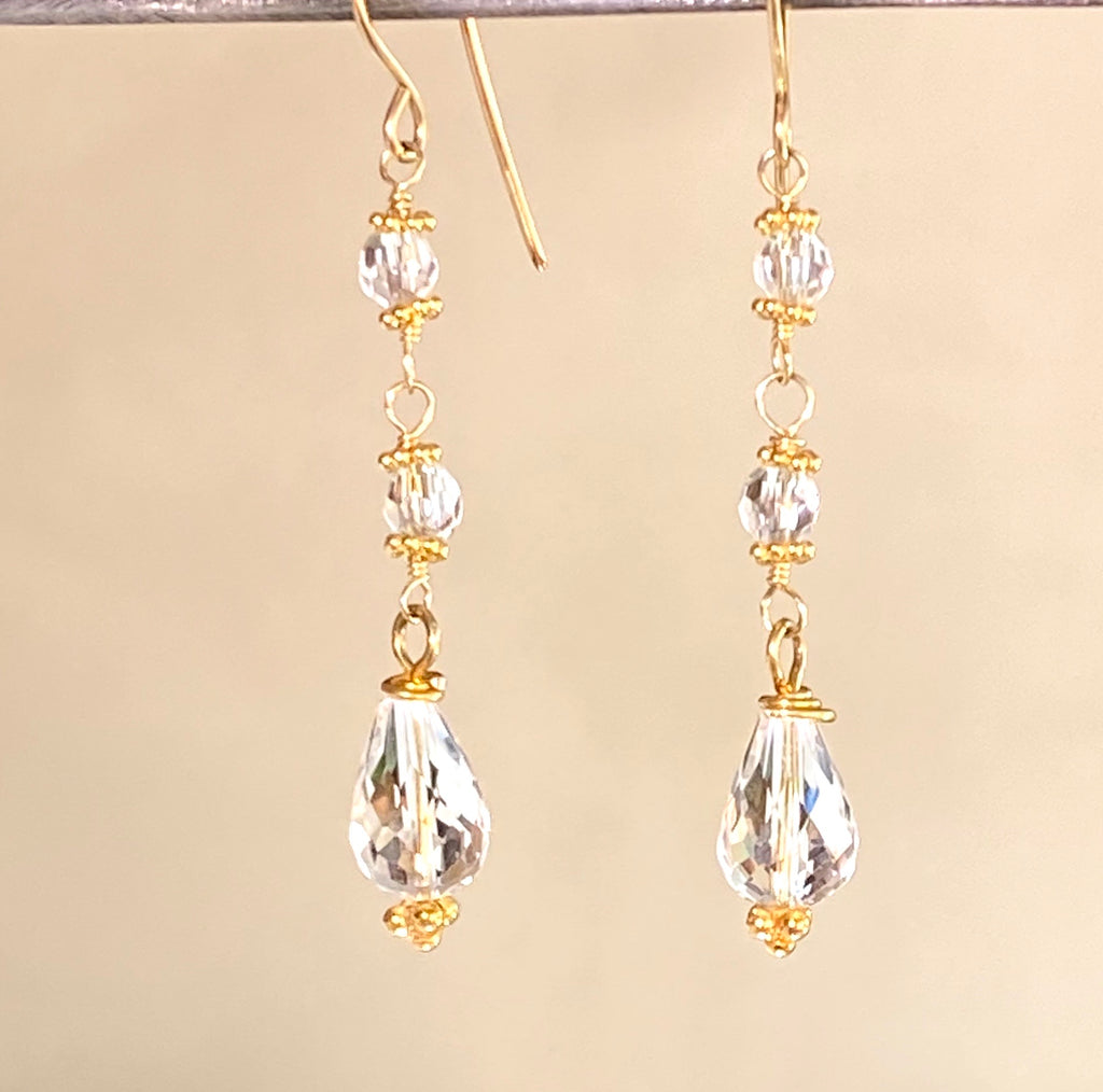 Clear Quartz Long Gold Dangle Earrings