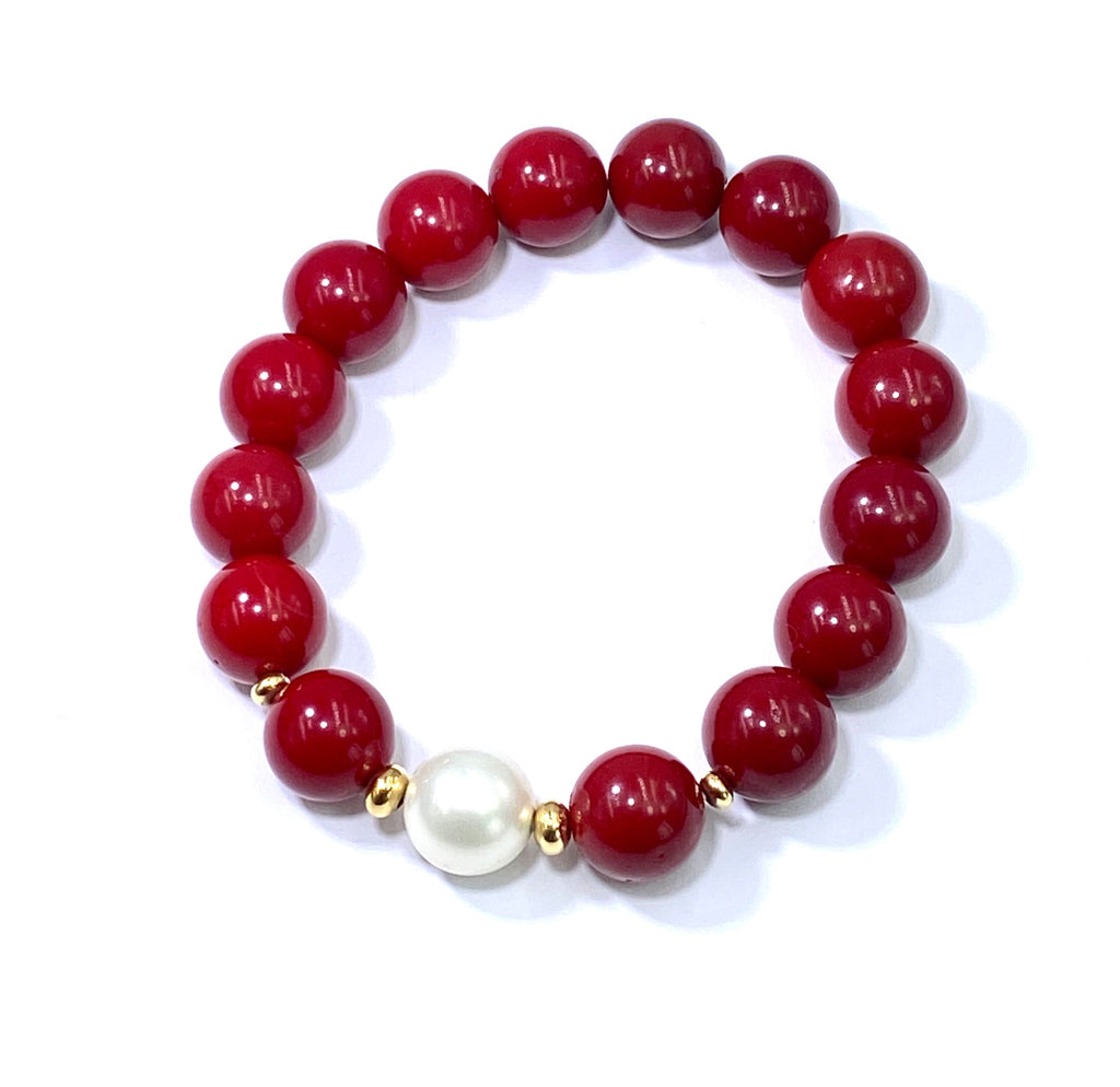 Red White Stretch Stack Bracelet Set of 3 - doolittlejewelry