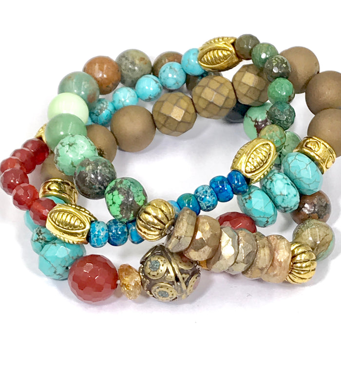 Stretch Beaded Stacking Gemstone Bracelet Set of 3 Turquoise Carnelian Gold Labradorite - doolittlejewelry