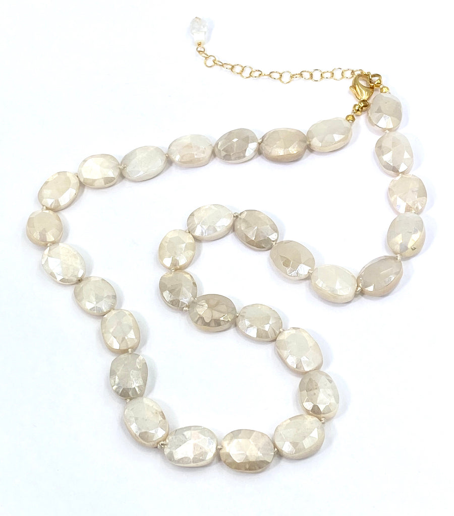 Ivory Mystic Moonstone Necklace Silk Knotted - doolittlejewelry