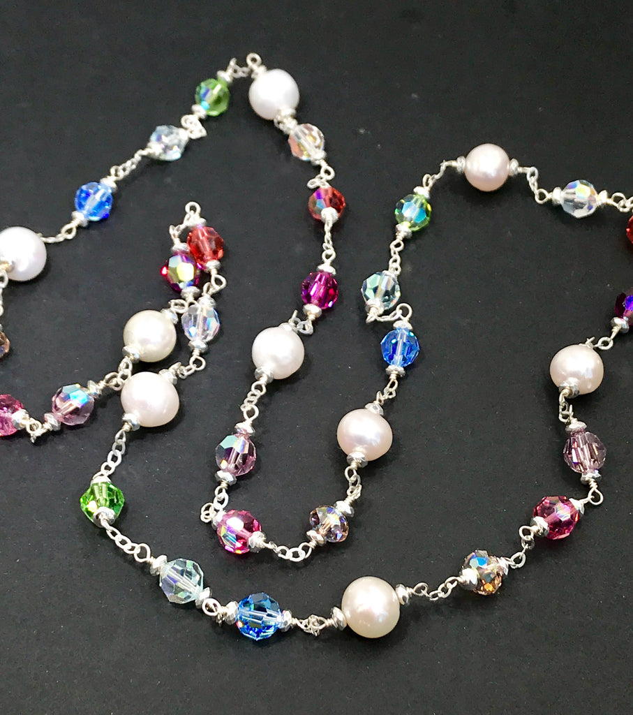Long Pearl Swarovski Crystal Sautoir Sterling Silver Necklace - doolittlejewelry