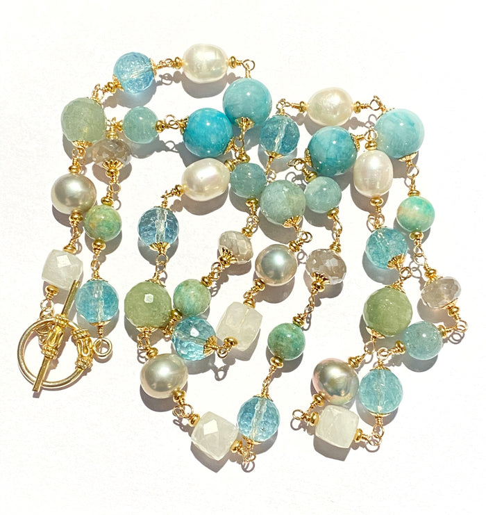 Aquamarine Pearl Long Wire Wrap Necklace Gold Moonstone