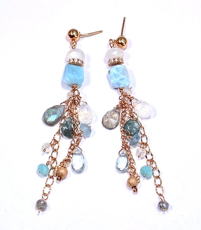 Larimar Labradorite Moonstone Rose Gold Boho Dangle Earrings - doolittlejewelry