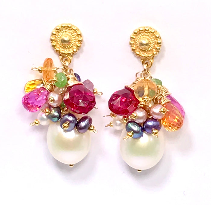 Colorful Gemstone Pearl Cluster Earrings Gold Post - doolittlejewelry