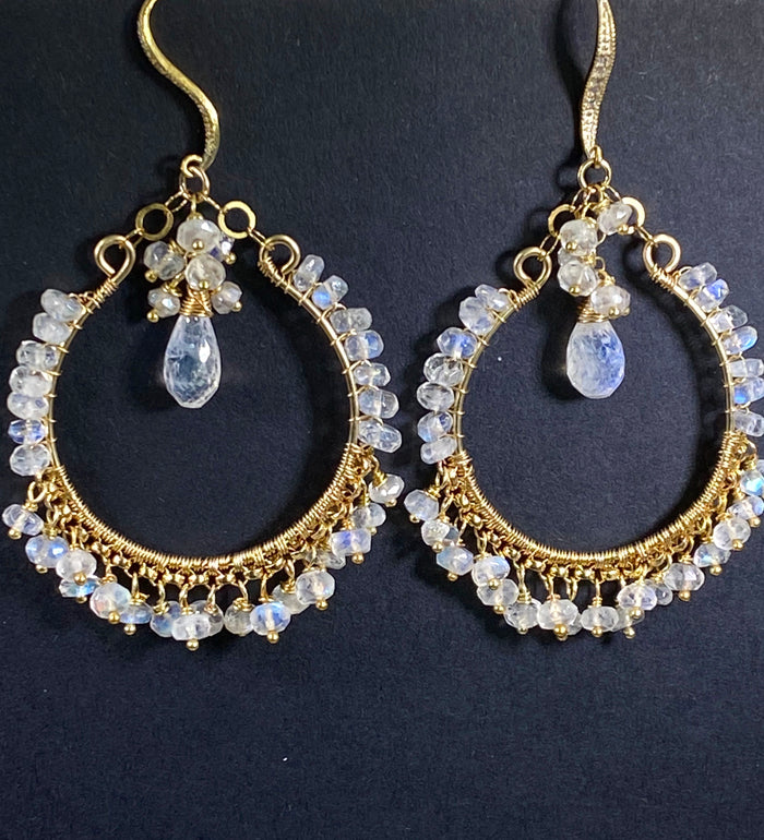 Luxury Moonstone Hoop Chandelier Bridal Hoops - doolittlejewelry