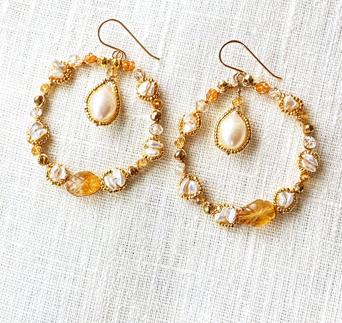Citrine Gemstone Gold Hoop Earrings Wire Wrapped
