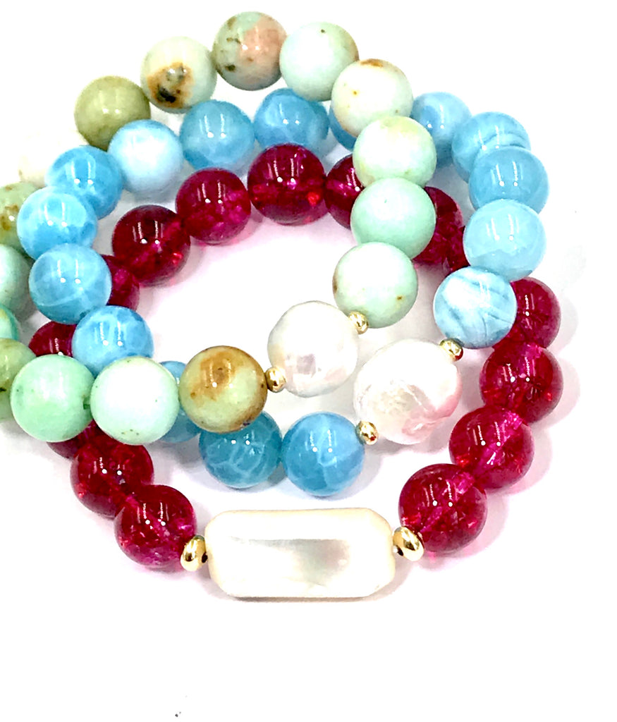 Blue Beaded Stacking Bracelet with Pearl, Blue Chalcedony - doolittlejewelry