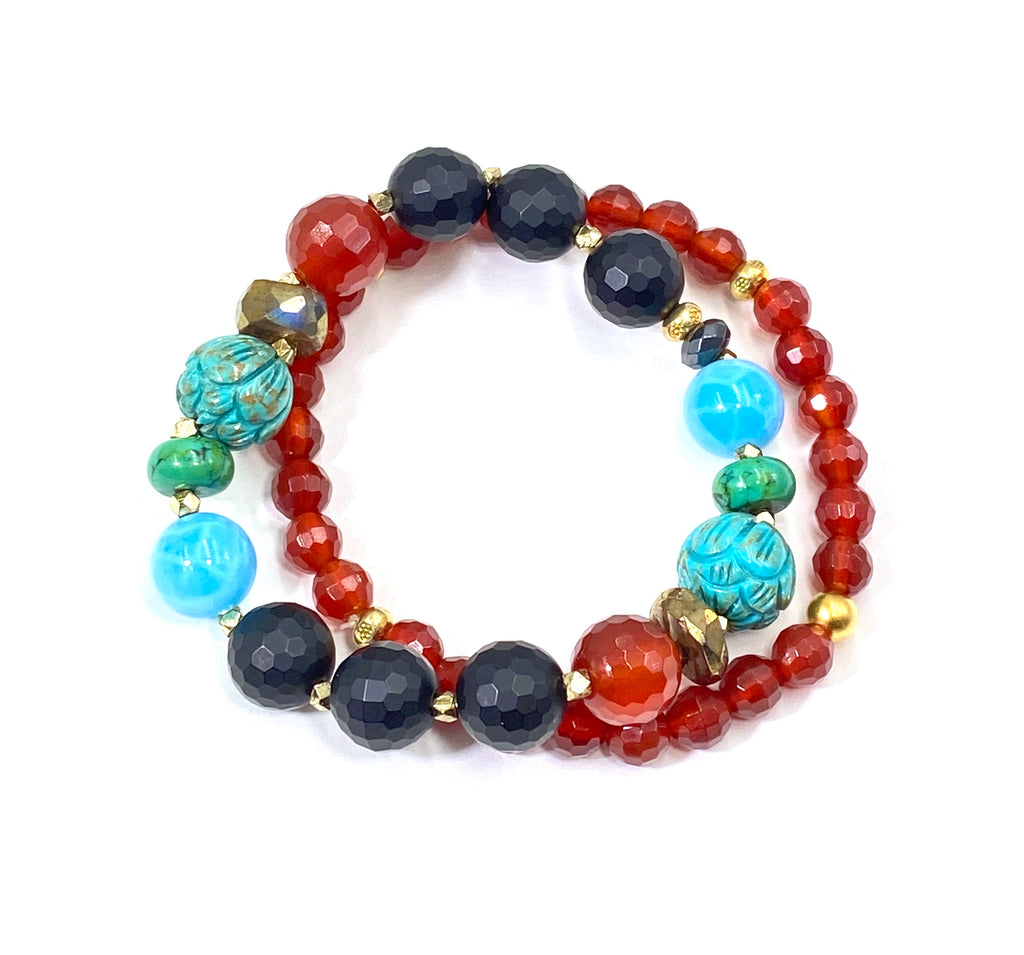 Carved Turquoise Carnelian Onyx Stretch Stacking Bracelet Set of 2