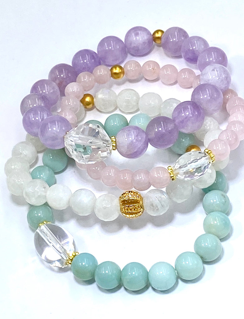 Pastel Stretch Stacking Bracelet Set of 3 with Crystal Quartz - doolittlejewelry
