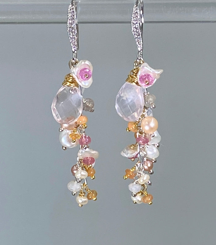 Pink Dangle Earrings Rose Quartz Pink Opal Mixed Metal - doolittlejewelry