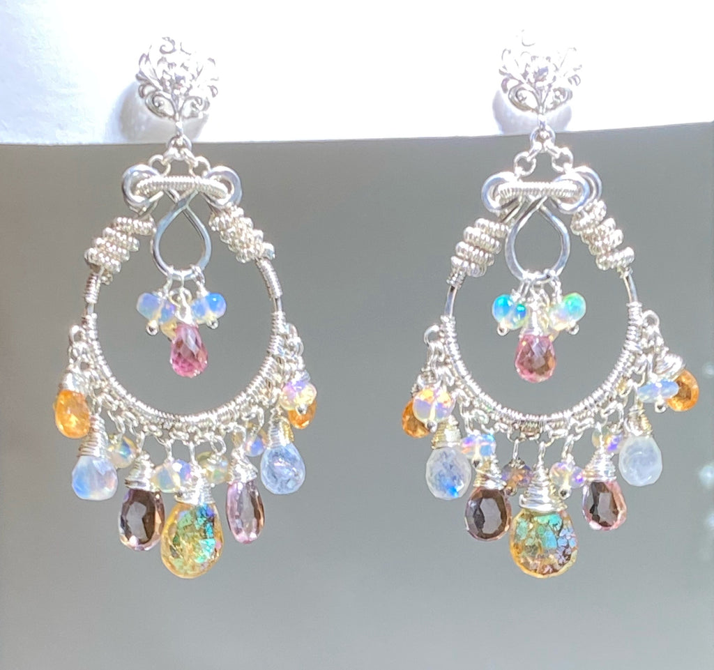 Mystic Citrine Moonstone Opal Pink Topaz Hoop Earrings in Sterling Silver