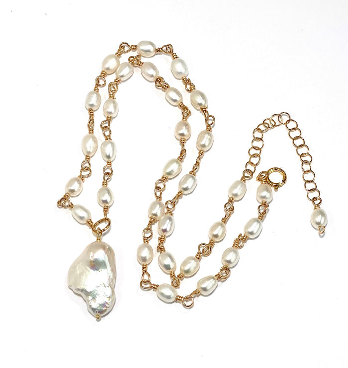 Dainty Baroque Pearl Necklace Wire Wrapped Rosary Style 14kt Gold Fill - doolittlejewelry