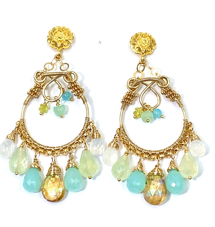 Gemstone Hoop Chandelier Earrings Gold Pastel Aqua, Light Green, Moonstone, Mystic Quartz - doolittlejewelry