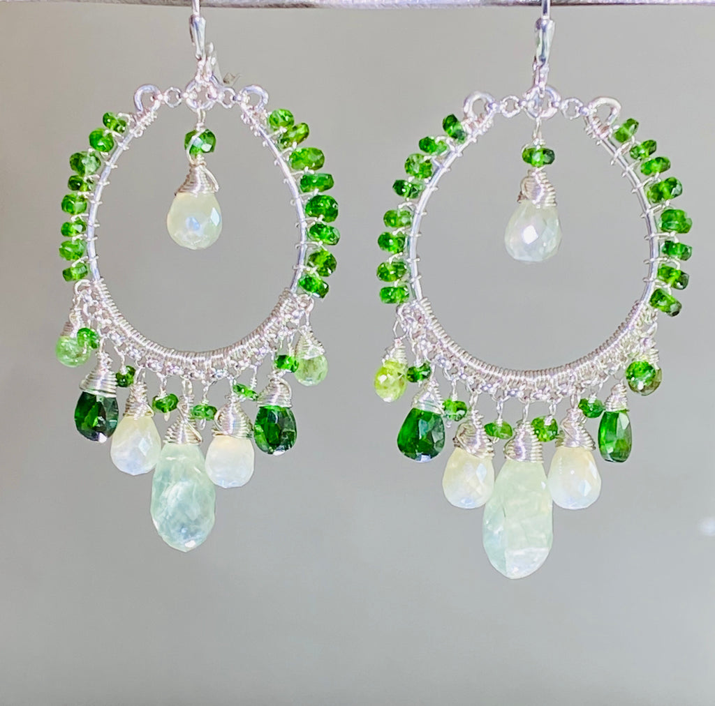 Green Gemstone Sterling Silver Hoop Earrings Chrome Diopside Peridot Prehnite