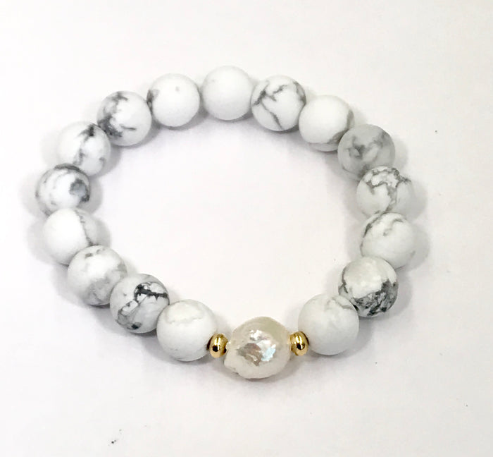 Beaded Stretch Bracelet White Howlite Pearl Stacking Bracelet - doolittlejewelry
