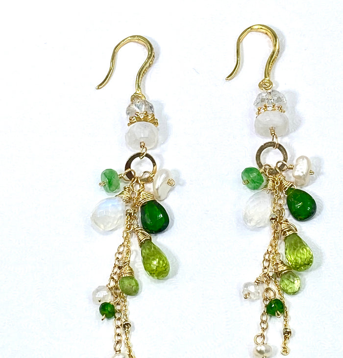 Green Gemstone Boho Dangle Earrings Peridot Chrome Diopside Tsavorite Gold - doolittlejewelry