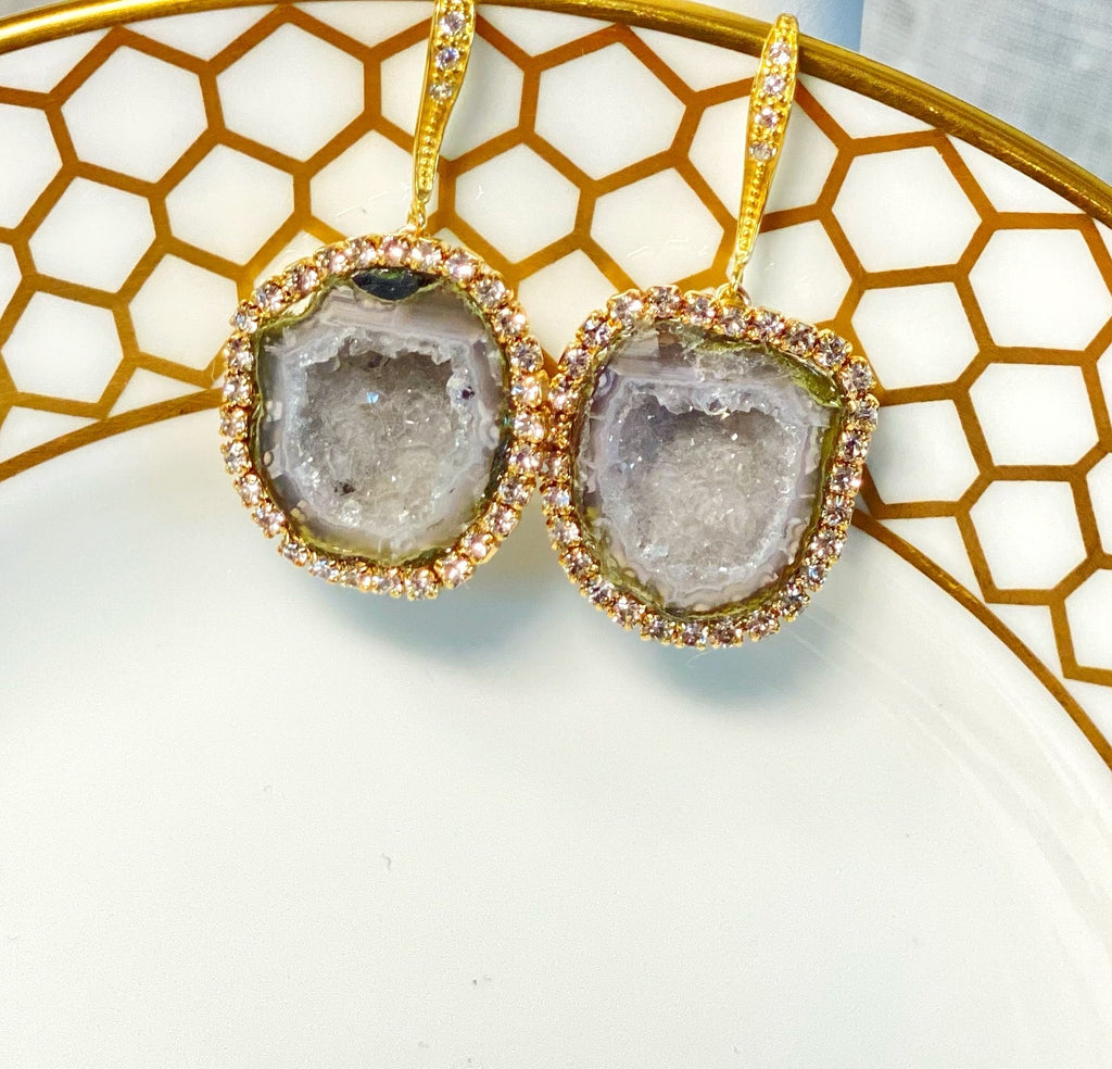 Silvery Grey Tabasco Geode Dangle Earrings