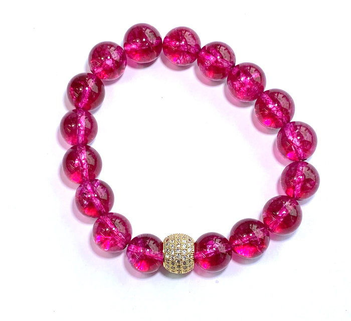 Hot Pink Quartz Gold Pave CZ Stretch Stacking Bracelet - doolittlejewelry