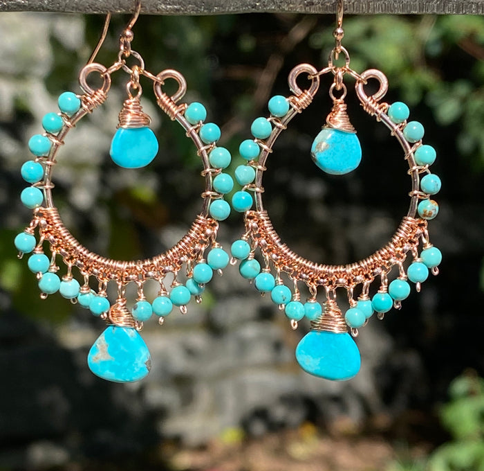 Turquoise Gemstone Rose Gold Hoop Earrings Kingman Mine