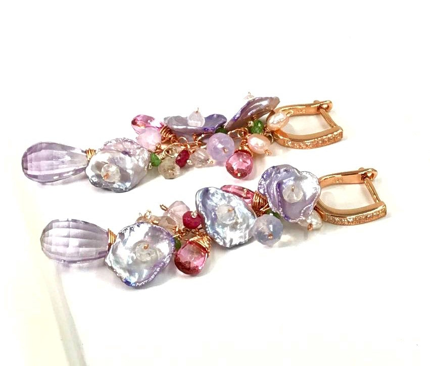 Lavender Amethyst Keishi Pearl Pastel Rose Gold Long Dangle Earrings