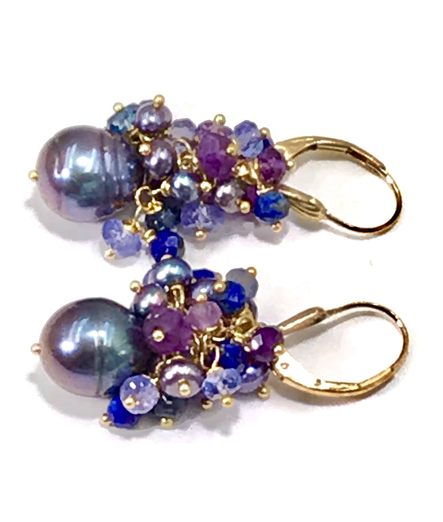 Black Baroque Pearl Gemstone Cluster Earrings Amethyst Tanzanite Iolite - doolittlejewelry