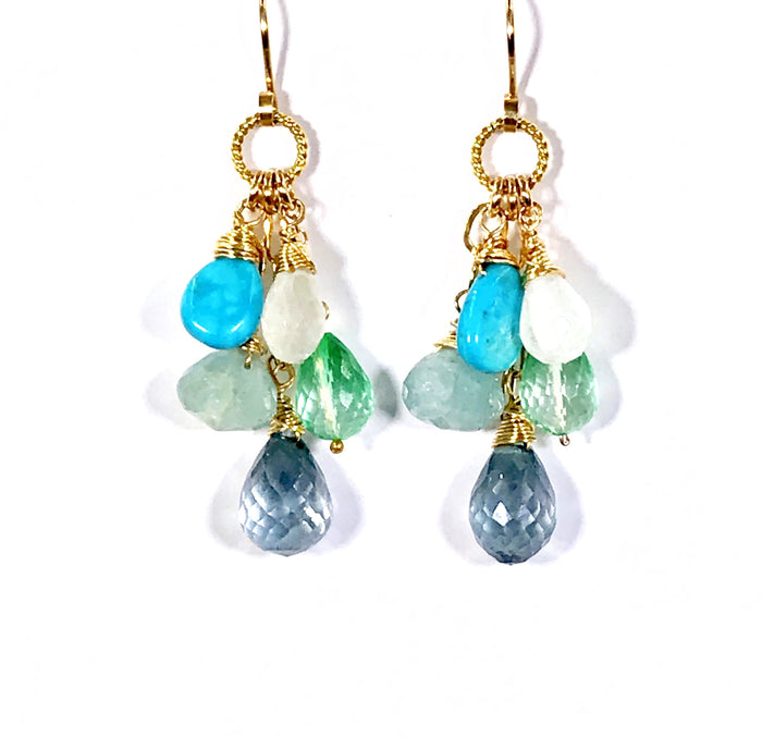 Blue Green Multicolor Gemstone Wire Wrap Gold Earrings