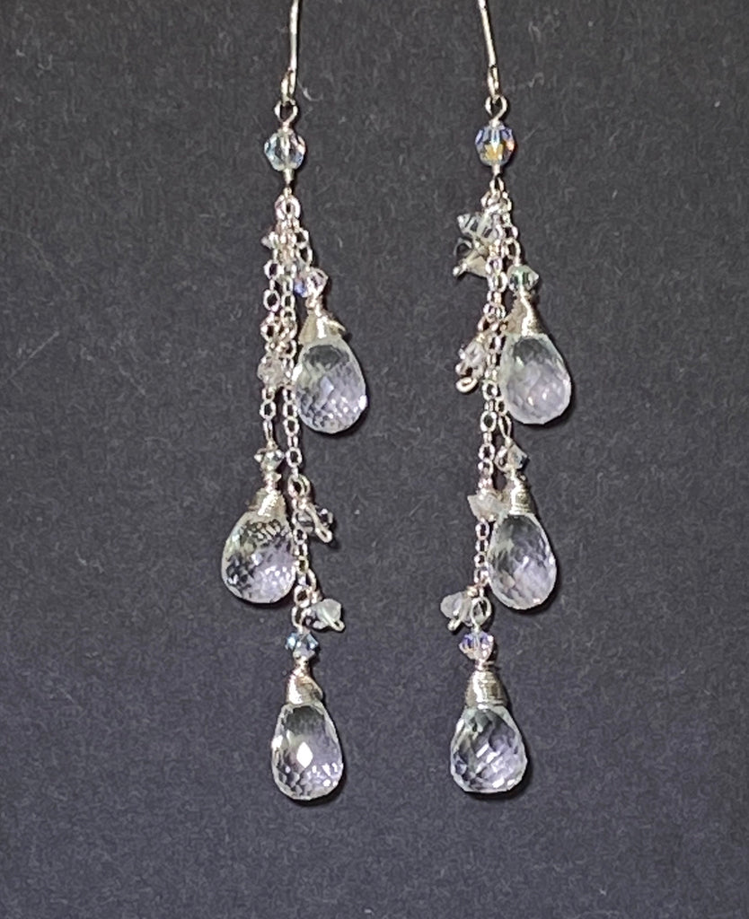 Crystal Quartz Long Dangle Earrings Sterling Silver Herkimer Diamond - doolittlejewelry