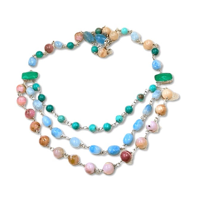 Multi-strand Necklace Multi-color Gemstone Wire Wrapped Opal Chrysoprase Aquamarine - doolittlejewelry