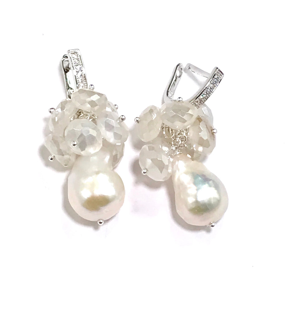 Baroque Pearl and Mystic Moonstone Sterling Silver Bridal Gemstone Cluster Earrings - doolittlejewelry