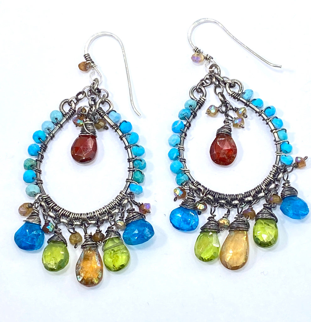 Multi-color Gemstone Oxidized Silver Boho Hoop Earrings Turquoise Peridot Mystic Hessonite - doolittlejewelry
