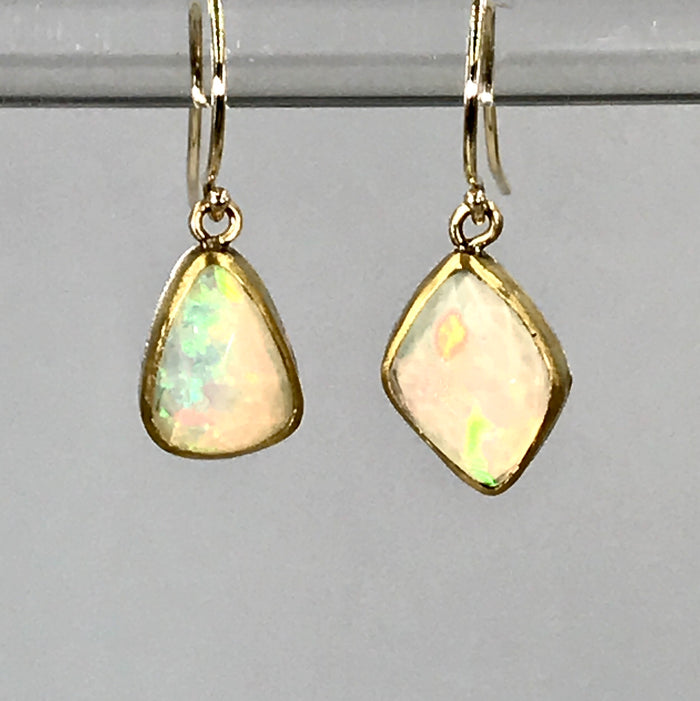 Ethiopian Opal Earrings, 22k Gold Dangle Earrings - doolittlejewelry