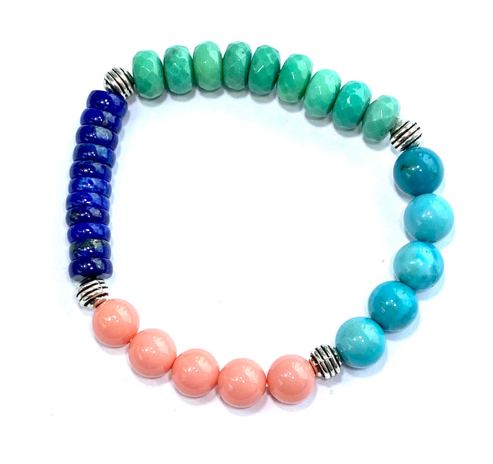 Colorful Stretch Stacking Bracelet Silver Beads, Blue Turquoise, Green Opal, Pink Coral, Blue Lapis - doolittlejewelry