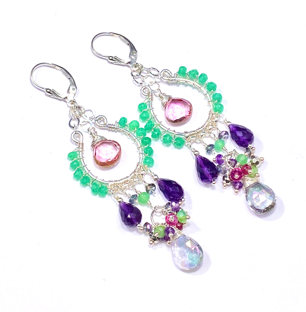 Mystic Topaz Sterling Silver Chandelier Earrings Boho Style - doolittlejewelry