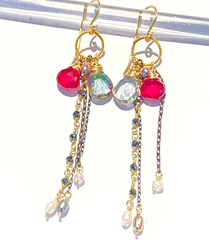 Red Topaz Mystic Topaz Gemstone Multicolor Mixed Metal Dangle Earrings