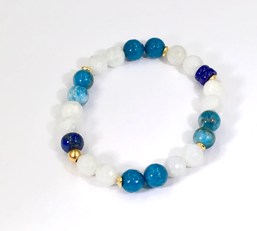 Blue and White Boho Stretch Bracelet Stacking Set of 2 - doolittlejewelry