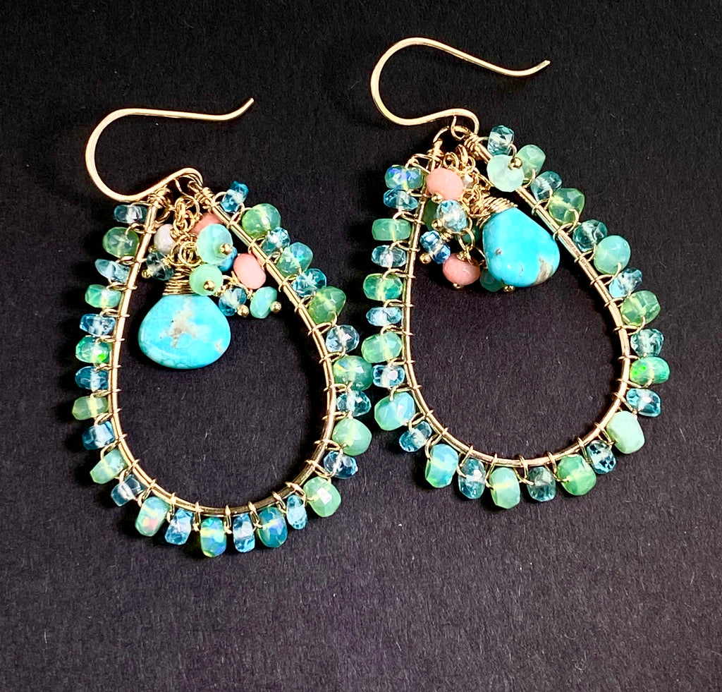 Turquoise, Apatite, Green Ethiopian Opal Hoop Earrings Gold Fill - doolittlejewelry