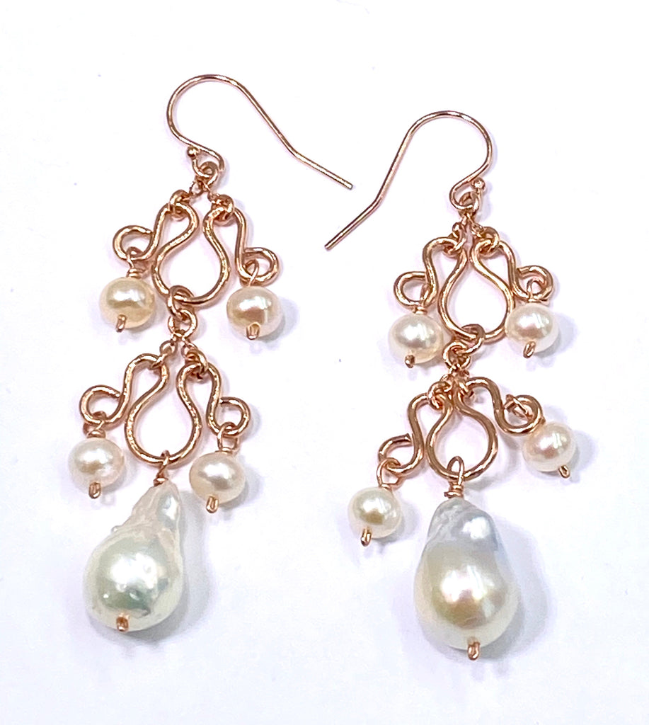 Baroque Pearl Rose Gold Chandelier Earrings - doolittlejewelry