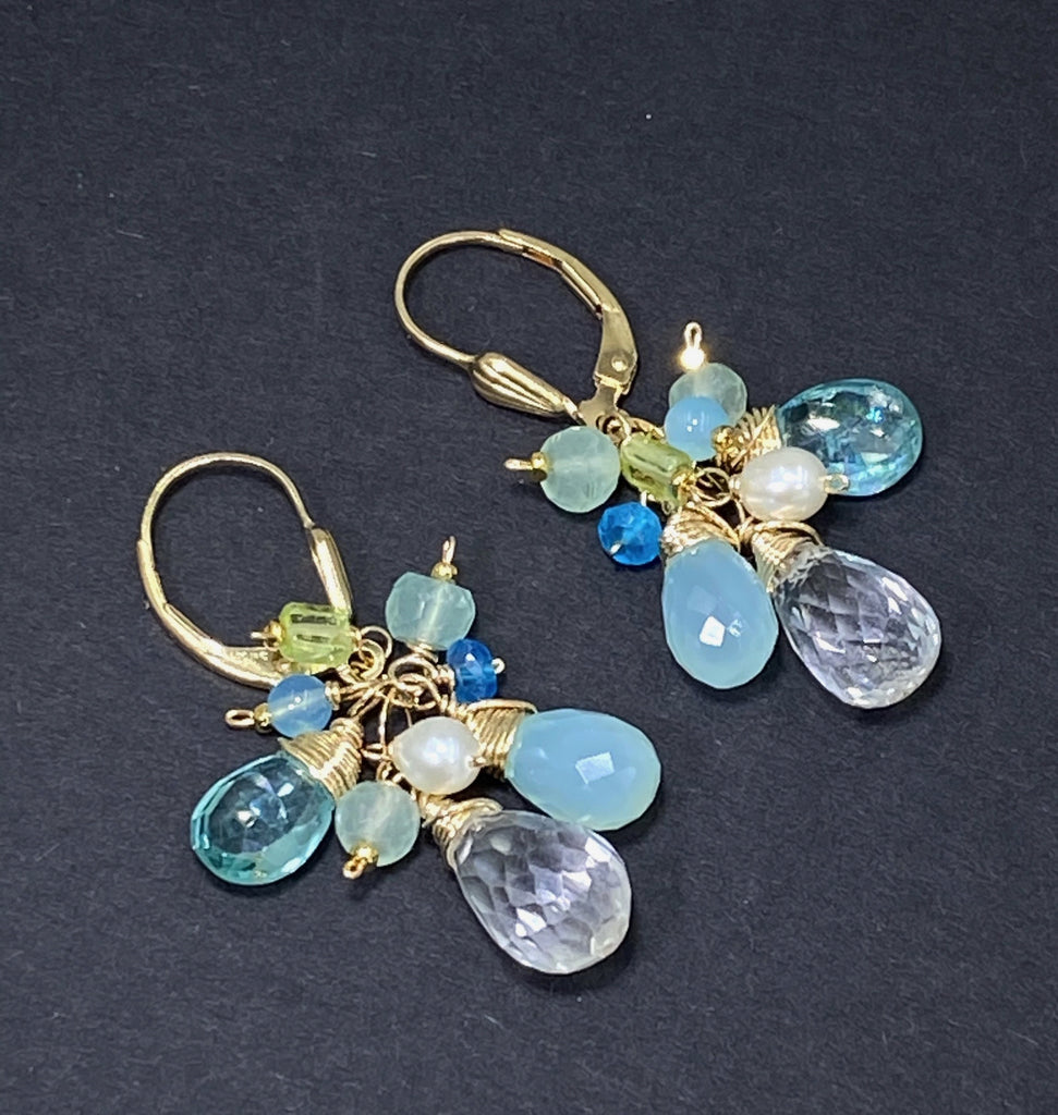 Aqua Gold Filled Dangle Earrings Crystal Quartz & Apatite