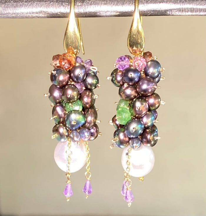 Multicolor Long Pearl Cluster Earrings Tsavorite Amethyst Gemstones