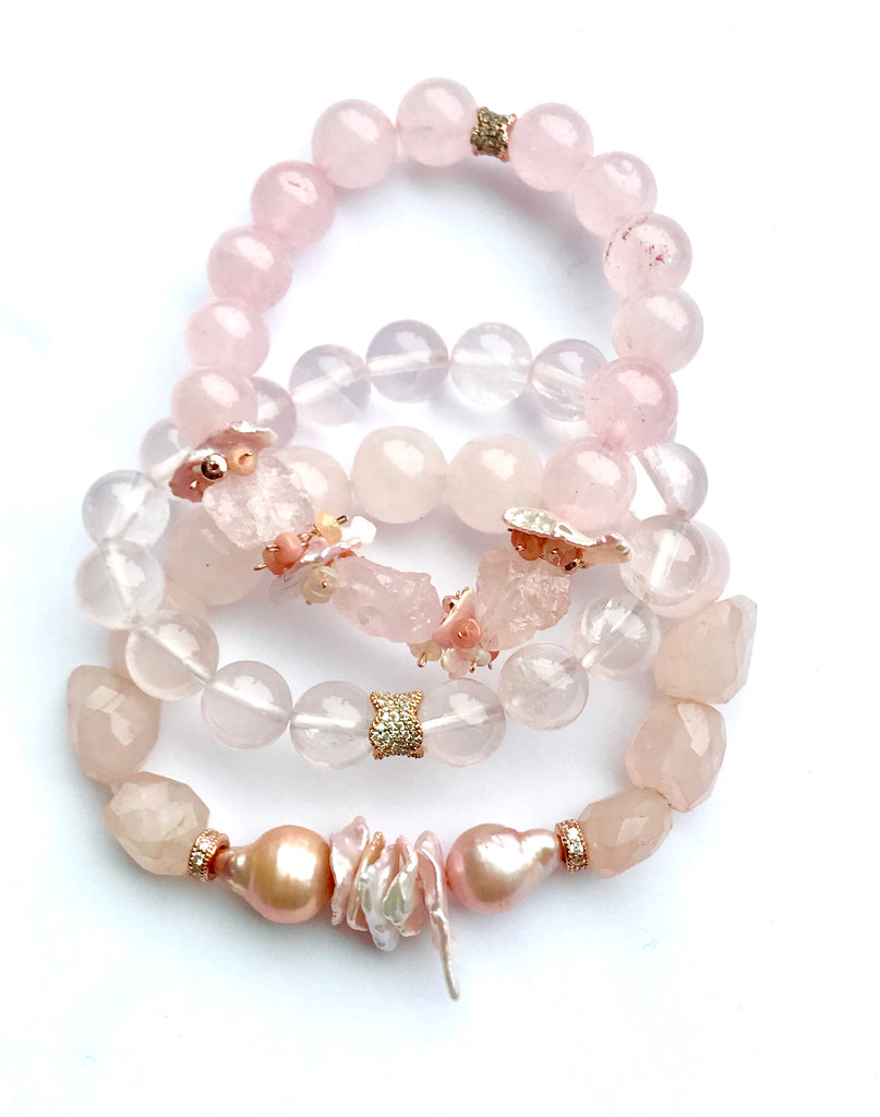 Rose Quartz, Blush Pearl Stretch Stacking Bracelet Rose Gold - doolittlejewelry