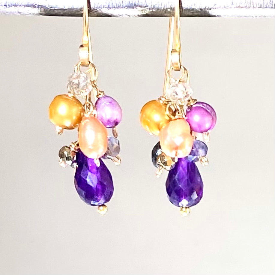 Amethyst and Multicolor Pearl Dangle Earrings