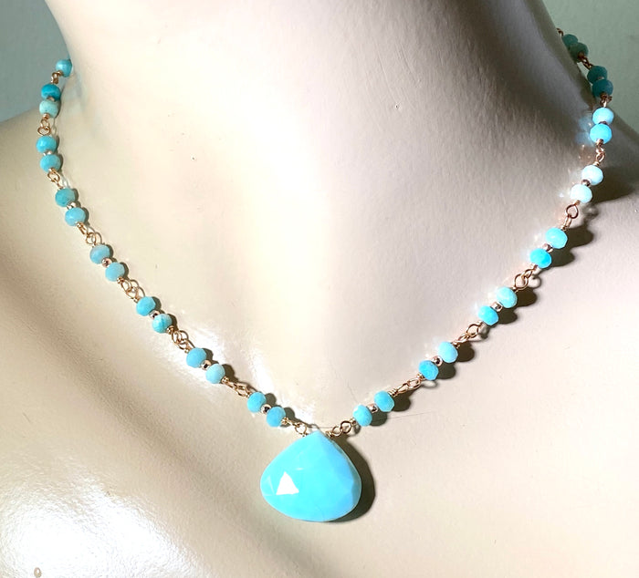 Blue Peruvian Opal, Amazonite, Rose Gold Wire Wrapped Pendant Necklace
