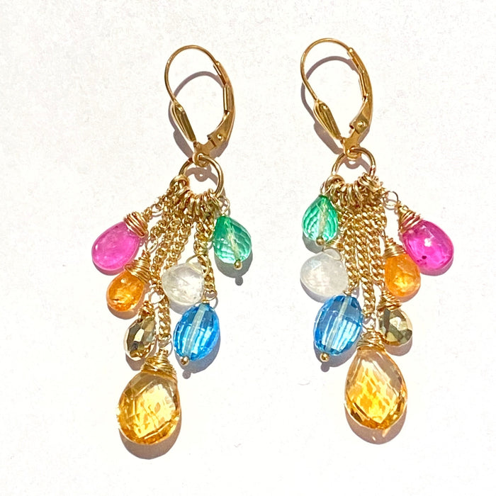 Multi-color Gemstone Gold Fill Chain Dangle Citrine Pink Sapphire