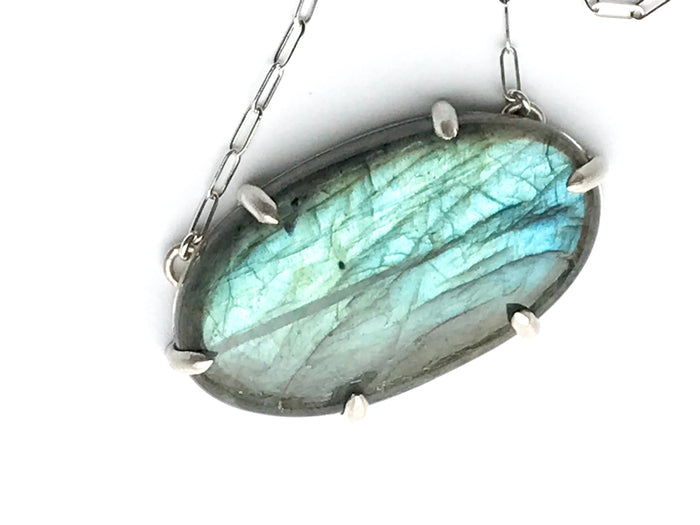 Labradorite Pendant Sterling Silver Necklace - doolittlejewelry