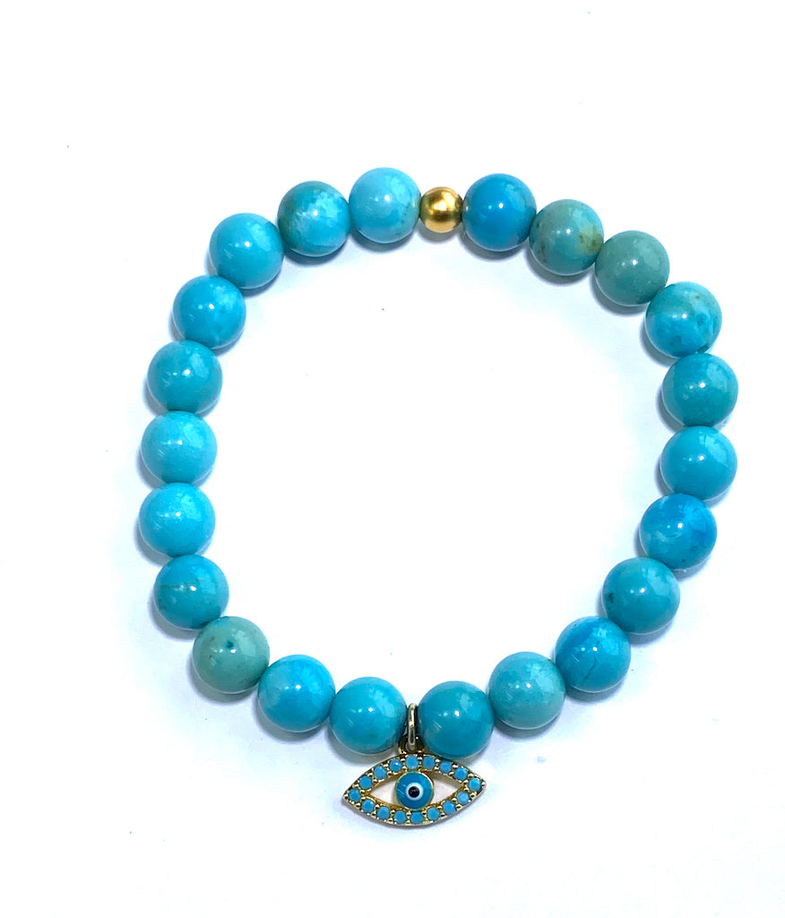 Turquoise Blue Beaded Stretch Stacking Bracelet Gold Evil Eye Charm Accents - doolittlejewelry