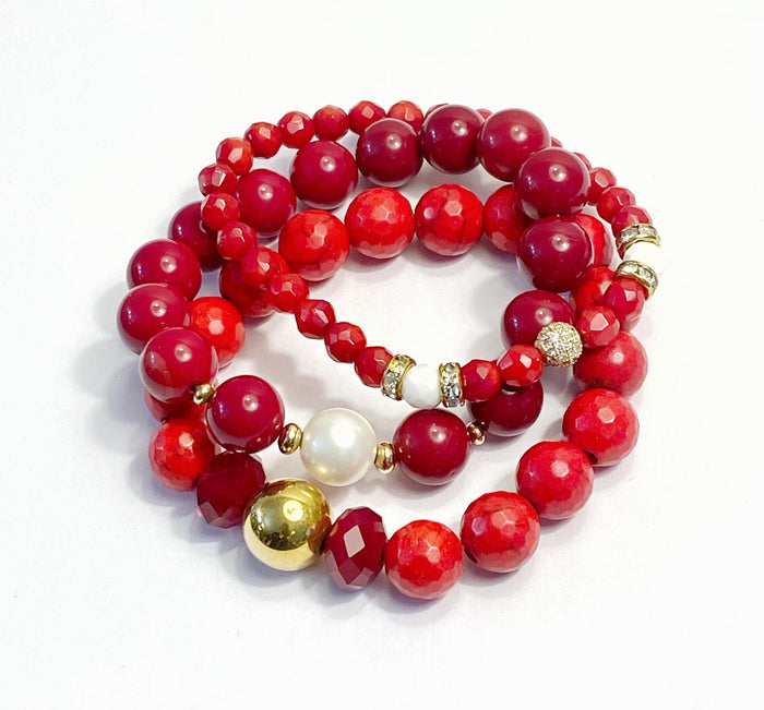 Red White Stretch Stack Bracelet Set of 3