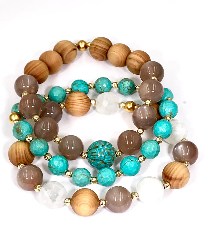 Stretch Bracelet Stack Set of 3 Turquoise Moonstone Chocolate Moonstone Sandalwood - doolittlejewelry